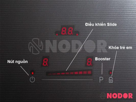 Ảnh phím điều khiển và chức năng của bếp từ Nodor