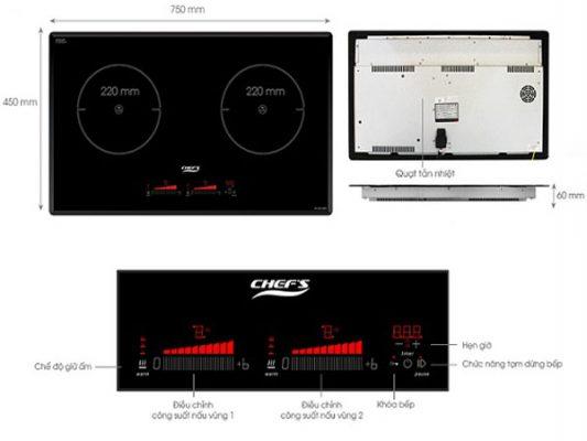Ảnh phím điều khiển và chức năng thông dụng của bếp từ Chefs
