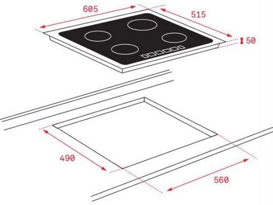 Kích thước lắp đặt bếp từ Teka IT 6350 IKNOB