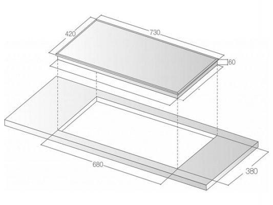 Kích thước lắp đặt bếp từ Bauer BE 32SR