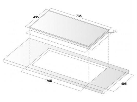 Kích thước lắp đặt bếp từ Binova BI-234-I