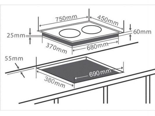 Kích thước lắp đặt bếp từ Chefs EH-DIH890