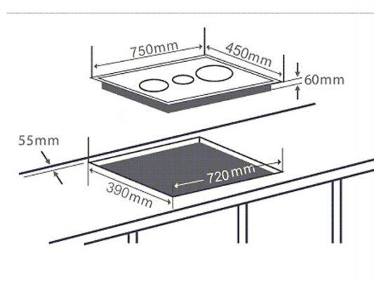 Kích thước lắp đặt bếp từ Chefs EH-IH533