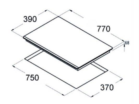 Kích thước lắp đặt bếp từ Dmestik ES753 DKI
