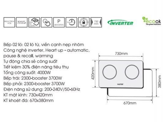 Kích thước lắp đặt bếp từ Faster FS 741GI