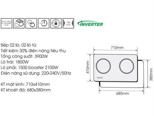 Kích thước lắp đặt bếp từ Faster FS 788I