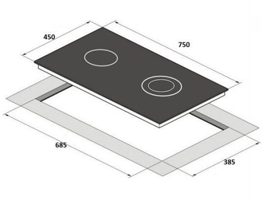 Kích thước lắp đặt bếp từ Kocher DI-806GE02