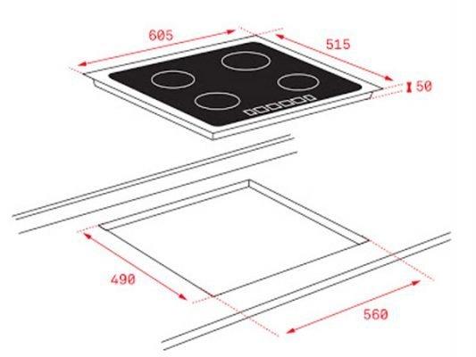 Kích thước lắp đặt Bếp từ Teka ITF-6320