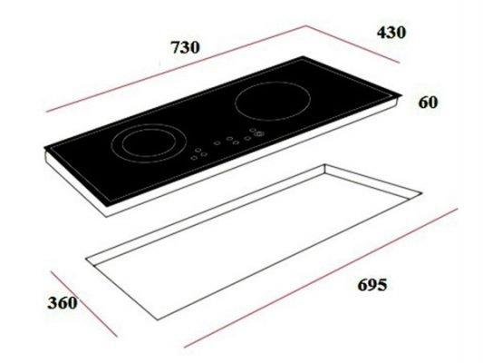 Kích thước lắp đặt bếp từ Teka IB 702