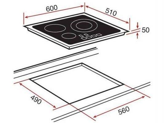 Kích thước lắp đặt bếp từ Teka IR 6320