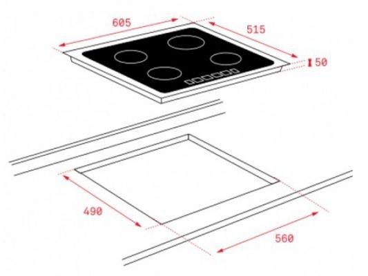 Kích thước lắp đặt bếp từ Teka IT 6420