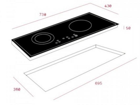 Kích thước lắp đặt bếp từ Teka IZ 7210