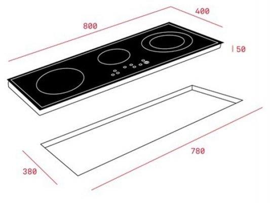 Kích thước lắp đặt bếp từ Teka IZ 8320 HS