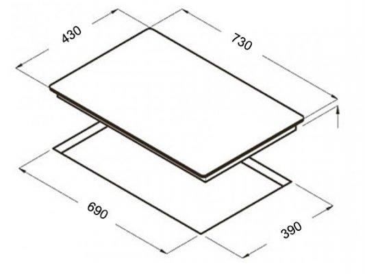 Hình ảnh kích thước lắp đặt bếp từ Topy TP A55 PLUS