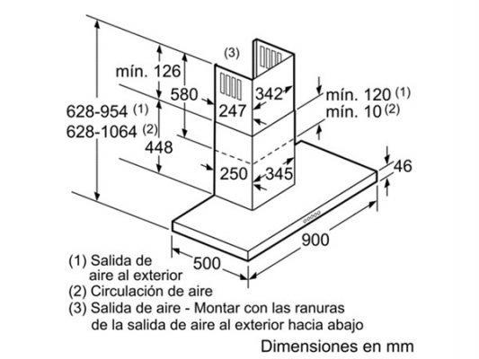 Kích thước lắp đặt máy hút mùi Bosch DWB098J50