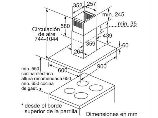 Kích thước lắp đặt máy hút mùi Bosch DIB097A50