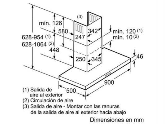 Kích thước lắp đặt máy hút mùi Bosch DWB097A50