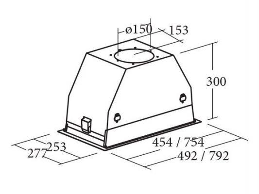 Kích thước lắp đặt máy hút mùi Cata GC DUAL WH 45