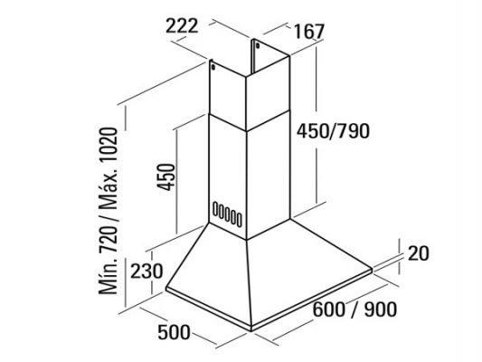 Kích thước lắp đặt máy hút mùi Cata OMEGA 60