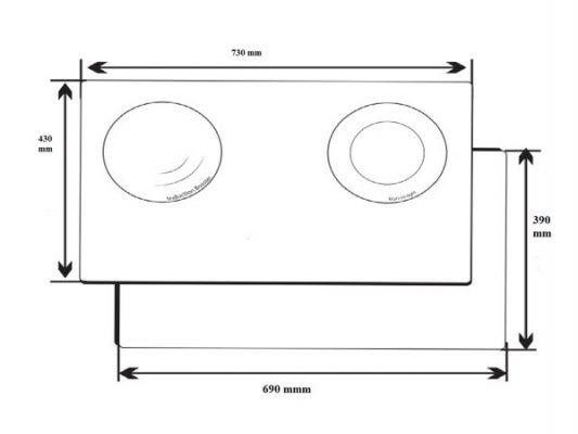 Kích thước lắp đặt bếp từ Dmestik ML921 DKI