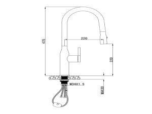 Vòi rửa bát Konox KN1225 3