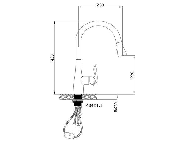 Vòi rửa bát Konox KN1226BG 2