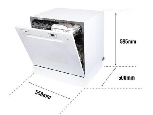 Kích thước sản phẩm và kích thước lắp đặt máy rửa bát Kocher DW08EU-8838
