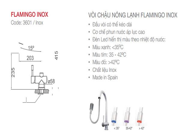 Vòi rửa bát Nodor Flamingo Inox 2