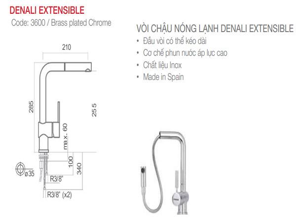 Vòi rửa bát Nodor DENALI EXTENSIBLE 2