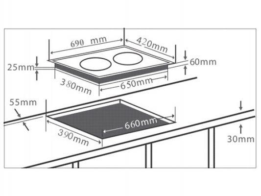 Kích thước lắp đặt bếp điện từ Chefs EH-DHL2000A