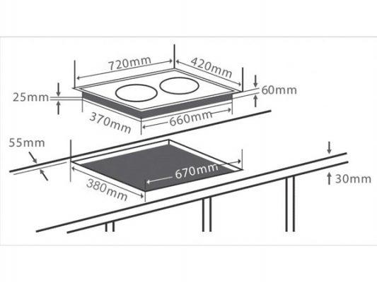 Kích thước lắp đặt bếp điện từ Chefs EH-MIX333