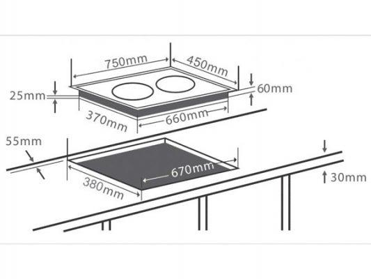 Kích thước lắp đặt bếp điện từ Chefs EH-MIX343