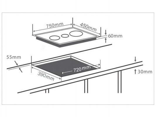 Kích thước lắp đặt bếp điện từ Chefs EH-MIX534