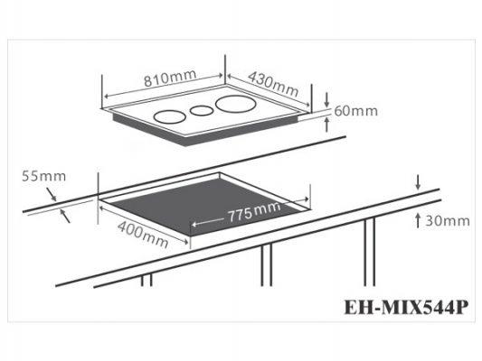 Kích thước lắp đặt bếp điện từ Chefs EH-MIX544P