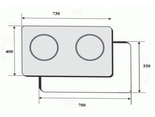 Kích thước lắp đặt bếp điện từ Faster FS-2SIR