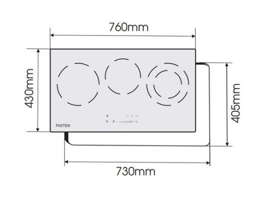 Kích thước lắp đặt bếp điện từ Faster FS 713HI