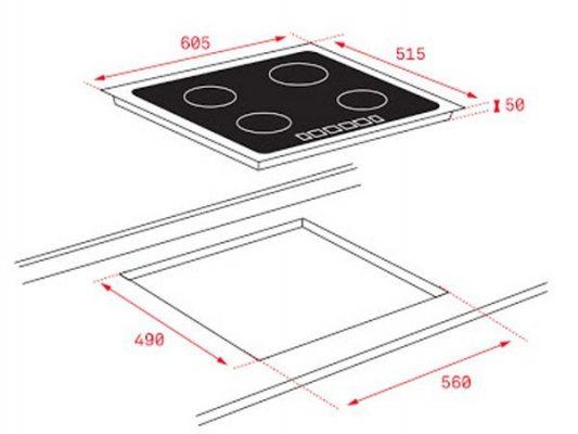 Kích thước lắp đặt bếp từ Teka IB 6315