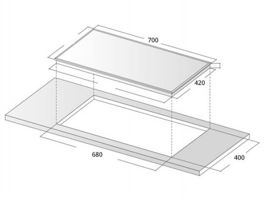 Kích thước lắp đặt bếp từ Zemmer IZM 205 New Design