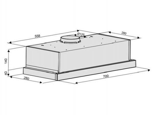 Kích thước lắp đặt máy hút mùi Nodor EXTENDER PLUS INOX