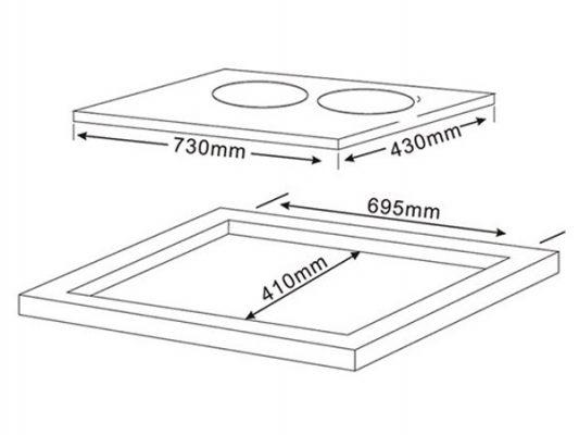 Kích thước lắp đặt bếp từ Teka IBC 72301