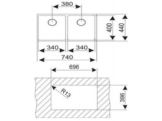 Kích thước lắp đặt chậu rửa bát Teka BE LINEA RS15 2B 740