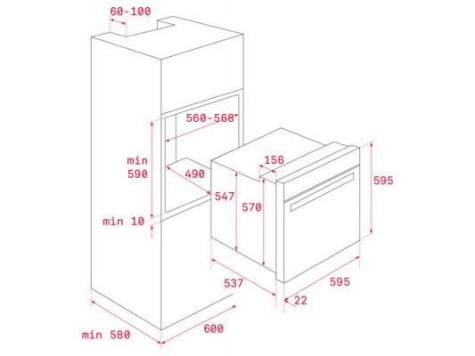 Kích thước lắp đặt lò nướng Teka HSB 610 BK