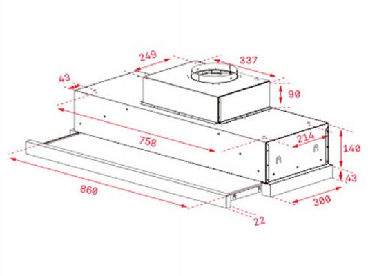 Kích thước lắp đặt máy hút mùi Teka CNL 9815 PLUS