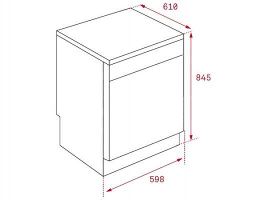 Kích thước lắp đặt máy rửa bát Teka LP9 850