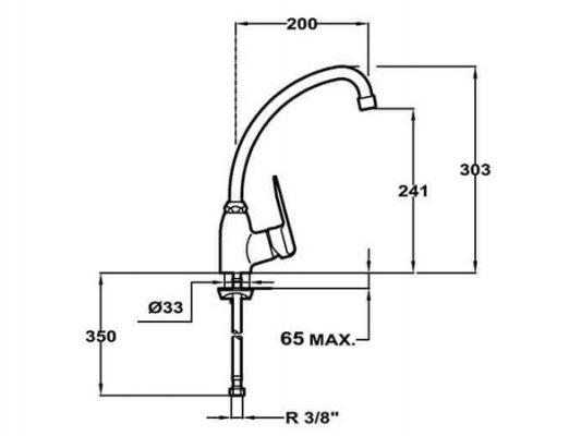 Kích thước lắp đặt vòi rửa bát Teka IN 912